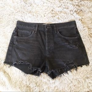 AGOLDE Distressed High Waisted Shorts